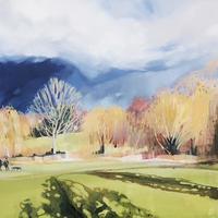 """""""Poplar Shadows"""" Framed oil painting £285.   Framed print £150"""