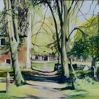 """""""Peacefully Green""""  200 x 600 oil painting £350. Prints and cards available."""