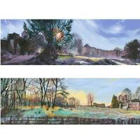 """""""Morning Frost"""" and """"Late Frost"""" 200 x 600cms oil paintings £350 framed. Prints available £150"""