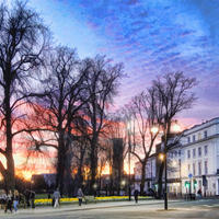 A colourful sunset over the Pump Room Gardens