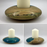 Flowing Spalted Beech Blue Flash Discus Candle Holder (Circa £40.00)