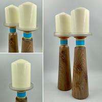 Limed Elm & Upcycled Malfy Gin Bottle Top Candle Holders  (Circa £30.00 each)