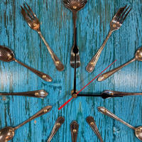 Striking Colour Washed Upcycled Cutlery Wall Clock (Circa £75.00)