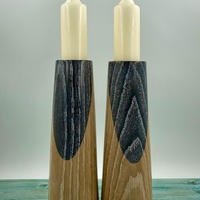 A Pair of Simple Elegant Limed Black Flash Oak Candle Holders (Circa £45.00)