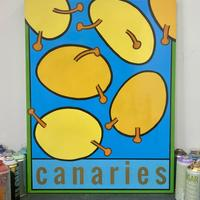 canaries. spray painting on a hand built wooden panel. polished varnish.
