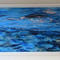 TO THE SUMMER ISLES acrylic on linen; white frame w 105 x h 54 cm