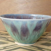 Turquoise and purple feathered bowl