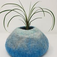 Handfelted bowl in soft grey and baby blue. £28
