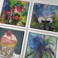Framed canvas prints. Image size 20 x 20 cm £55 each
