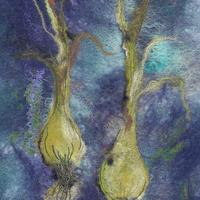 Spring onions. Original felt £295.00. Also available as a framed giclee print.