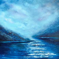 Textured atmospheric seascape painting
