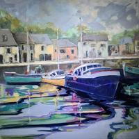 Padstow Harbour - oil on canvas - 700 x 700 framed