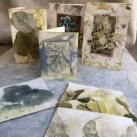 handmade cards using ecodyed paper, t-bag,fabric collage.