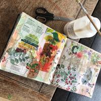 sketchbook page - collage with paper napkin