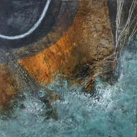 """""""Tide Lines"""" #1 Cold Wax Medium and Oil. Geology. Landscape. Abstract."""