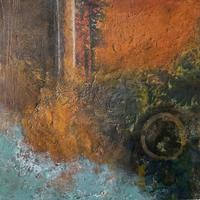 """""""Tide Lines"""" #2 Cold Wax Medium and Oil. Geology. Landscape. Abstract."""