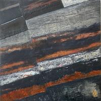 """""""Rift"""" #1 Cold Wax Medium and Oil, with gold leaf. Geology. Landscape. Abstract."""