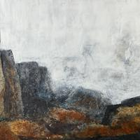 """""""And Still, They Stand"""" #2 Cold Wax Medium and Oil. Geology. Landscape. Abstract."""