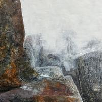 """""""And Still, They Stand"""" #1 Cold Wax Medium and Oil. Geology. Landscape. Abstract."""