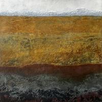 """""""Above Below"""" #2 Cold Wax Medium and Oil. Geology. Landscape. Abstract."""
