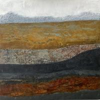 """""""Above Below"""" #1 Cold Wax Medium and Oil on cradled birchwood panel. Geology. Landscape. Abstract."""