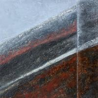 """""""Rift"""" #2 Cold Wax Medium and Oil, with gold leaf. Geology. Landscape. Abstract."""