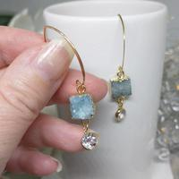 Gold fill arched earwires with aqua blue drusy quartz and white topaz drops