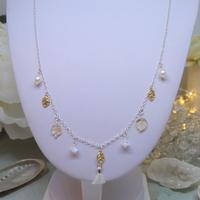 Sterling silver and gold vermeil charm necklace with citrine, rainbow moonstone and freshwater pearl