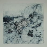 """'A moment paused.' Dry point etching. 10"""" x 10"""" mounted."""