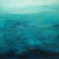 'Swirling days merge.' Mixed media on board. 39 x 34 cm framed.