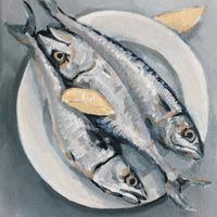 Fish on a Dish  oil on canvas 23x35cm £150