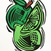 Apple and Limes  original linocut & collage  framed  £30
