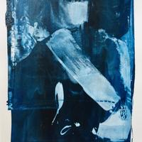 Screen print study in blue, black & white