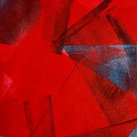 Monoprint study in blue & red