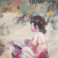 Beach Baby - memories of long summer days by the sea. Oil on board 5x7""