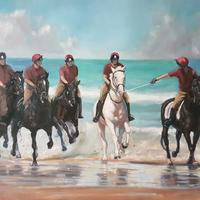 Household Cavalry gallop on the beach - inspired by the horses enjoying Holkham beach. Oil on board 20x16""