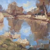 Winter river at Hampton Lucy. It was a cold but sunny day in January 2021 and I loved the reflections in the water. Oil on board 7x5""