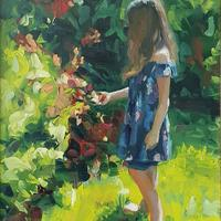 Girl in a garden - my beautiful niece enjoying the garden flowers. Oil on board 9x12""