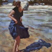 Windy beach day. This is my favourite image from summer 2020. Oil on board 9x12""