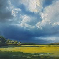 Before the rain. Fields near Stratford Upon Avon, just before we got soaked! Oil on board 12x9""