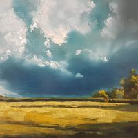 After the Rain - Warwickshire fields in sunshine following the deluge. Oil on board 12x9""