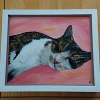 Framed acrylic painting of a cat, completed as a commission