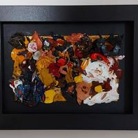 Framed acrylic painting made of collaged peelings of dry acrylic paint