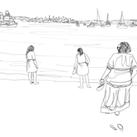 A black line drawing digital illustration of three figures looking out across Sydney harbour, that I completed as a commission