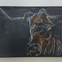 Acrylic painting of a woolly cow