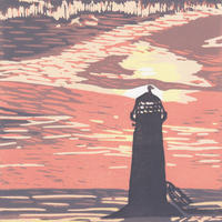 Lighthouse at Sunset Reduction Linocut
