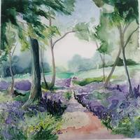 'Bluebell Stroll' Limited Edition Print 50cm square by Leanne Simmons