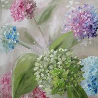 "'Rainbow Hydrangeas' Oil on canvas panel 12 x 10"""