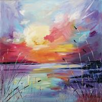 'Up Since Dawn' Oil Original on 40cm square canvas  by Leanne Simmons