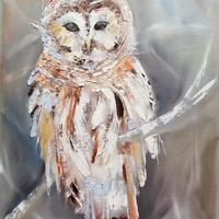 """'Barred Owl' Oil Original on canvas panel 16 x 12"""" by Leanne Simmons"""